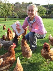 Annia and a hen painting