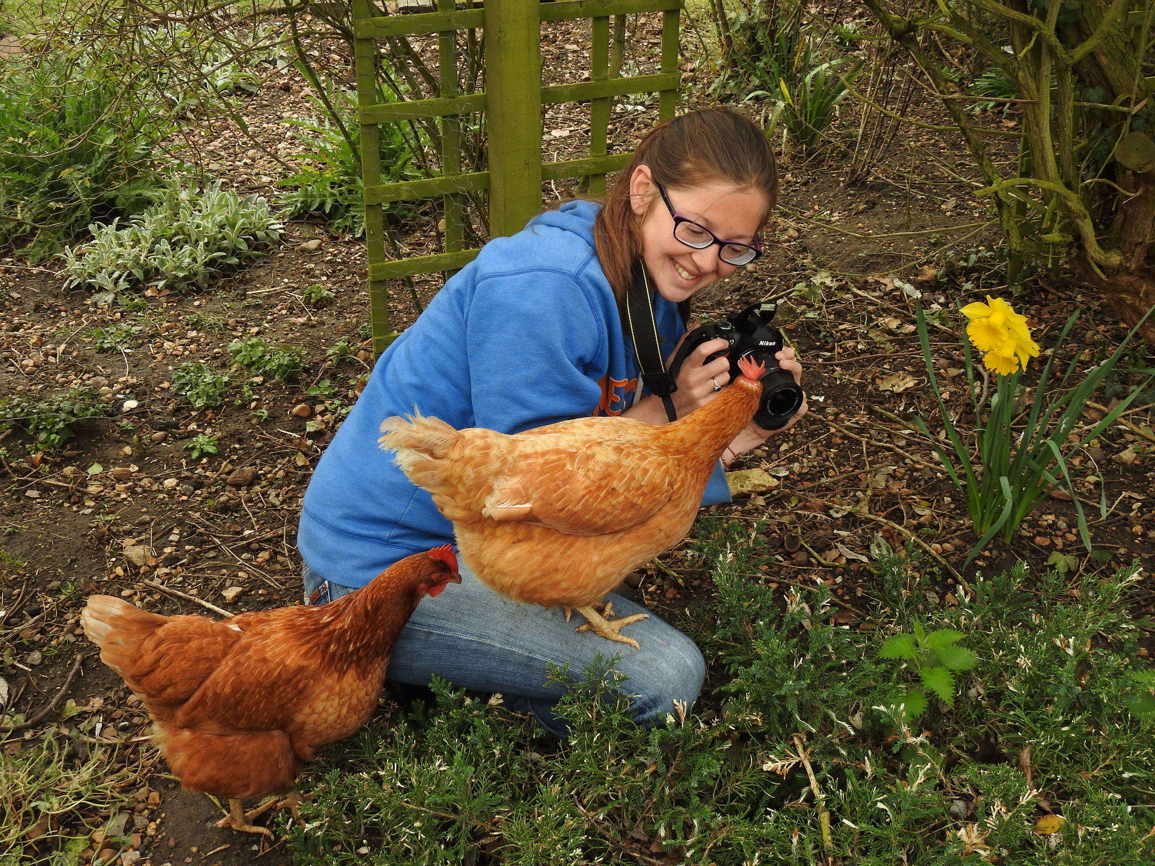 Heidi Carneau with hens