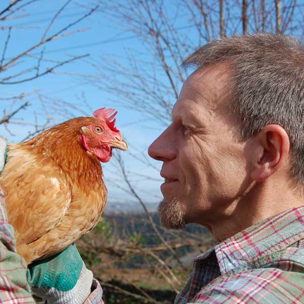 Trevor With His Hen Gloria
